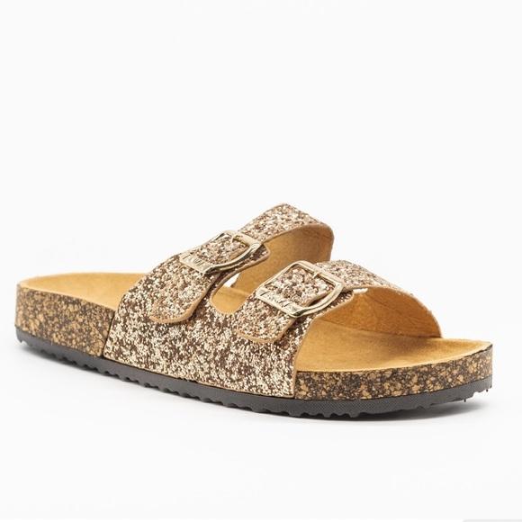 anna sandals rose gold glitter